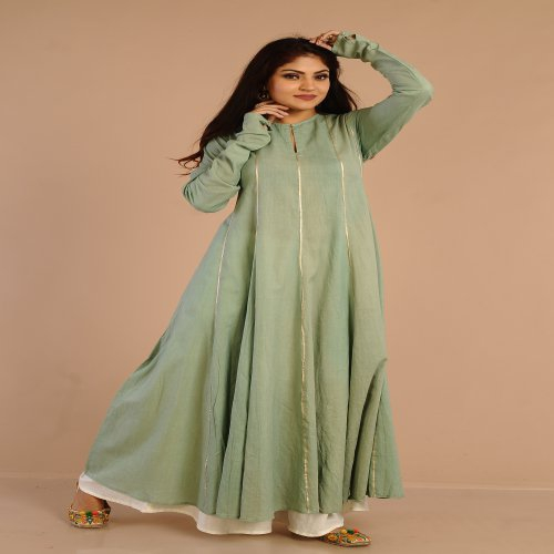 Miraasa A Cut Sea Green Anarkali With Gotta