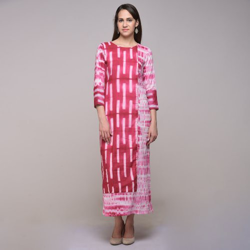 Miraasa Pink Color Tie Dyed Abstract Dress