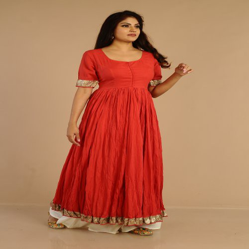Miraasa Red Anarkali With Gotta And Ivory Pallazo Pants