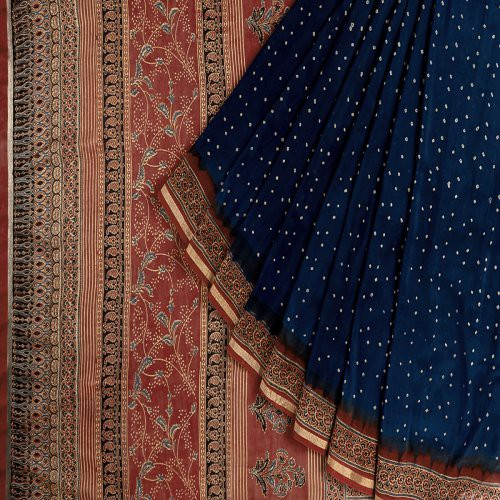 Miraasa Blue Ajarak Bandani Chanderi Saree In All Over Design Pattern