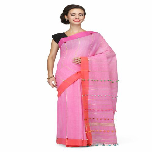 Miraasa Pink Handwoven Cotton Saree In All Over Design Pattern
