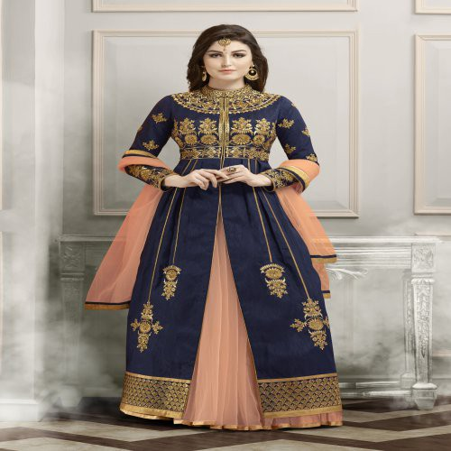 Craftsvilla Blue Color Bangalore Silk Embroidered Semi-stitched Straight Suit