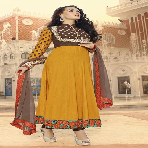 Craftsvilla Yellow And Brown Color Embroidered Cotton Satin Semi-stitched Anarkali Suit
