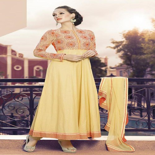 Craftsvilla Yellow And Orange Color Embroidered Cambric Cotton Semi-stitched Anarkali Suit