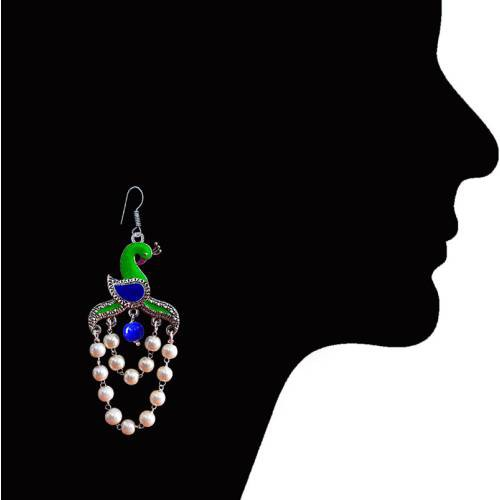 Craftsvilla Traditional Meenakari Peacock Shape German Silver Plated Brass Green Kundan Pearl Jhumki Earrings.