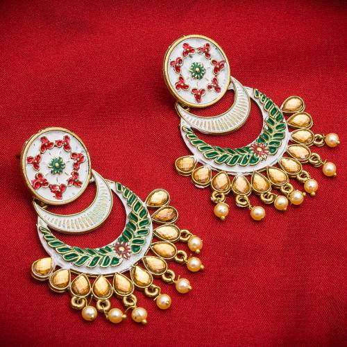 Craftsvilla Gold Plated Alloy Metal Fashion Glass Beads Chandbali Earrings