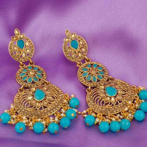 Craftsvilla Gold Plated Alloy Metal Traditional Glass Beads Chandbali Earrings