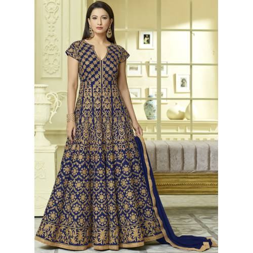Craftsvilla Blue Color Silk Embroidered Semi-stitched Circular Anarkalli Suit