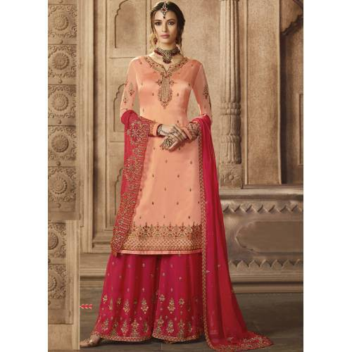 Peach Georgette Embroidered Unstitched Sharara Suit