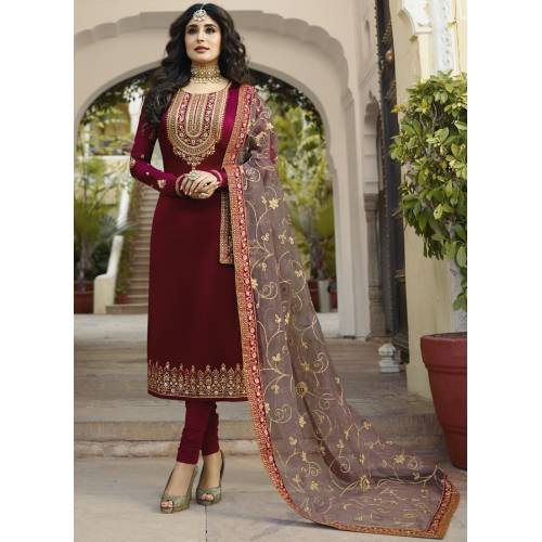 Maroon Georgette Embroidered Unstitched Churidar Suit