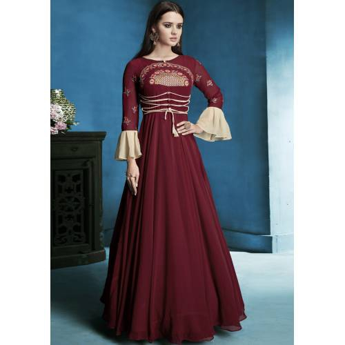 Craftsvilla Maroon Georgette Embroidered Circular Readymade Anarkali Suit
