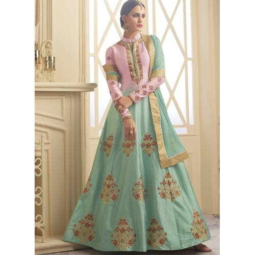 Craftsvilla Sky Blue Color Silk Embroidered Semi-stitched Circular Anarkali Suit