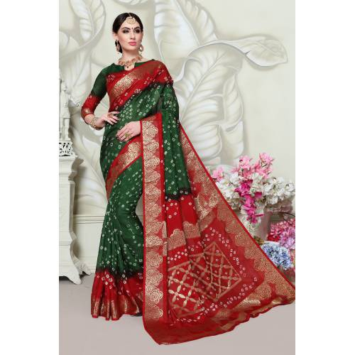 Craftsvilla Multicolor Art Silk Designer Handpainted Saree With Unstitched Blouse Piece