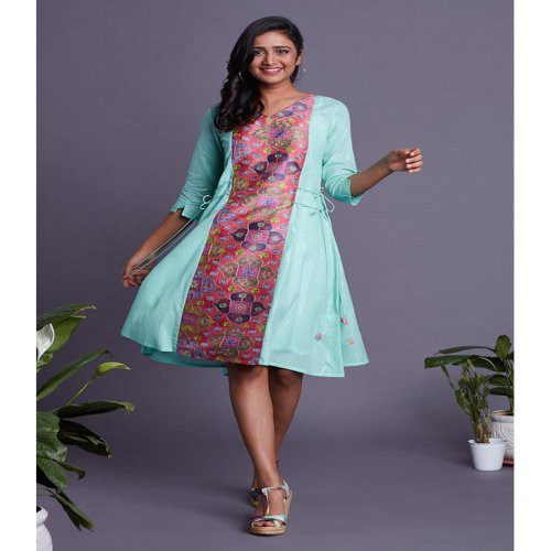 Front Panel Turquoise Dress