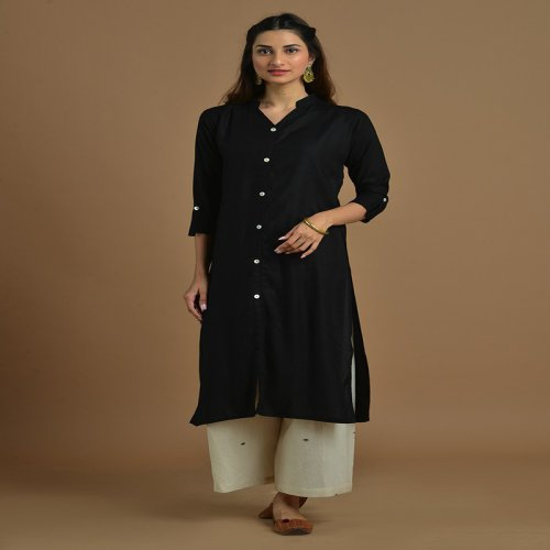 Black Rayon Plain Knee Length Straight Kurti