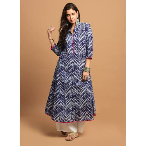 Mid-night Blue Zig-zag Printed 3/4th Sleeve Kurti