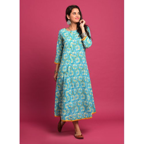 Printed Blue And Mustard Hemmed Calf- Length Kurti