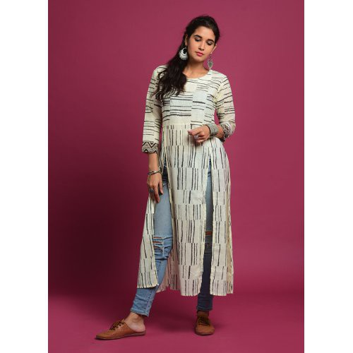White And Brown Printed Front Slit Kurti