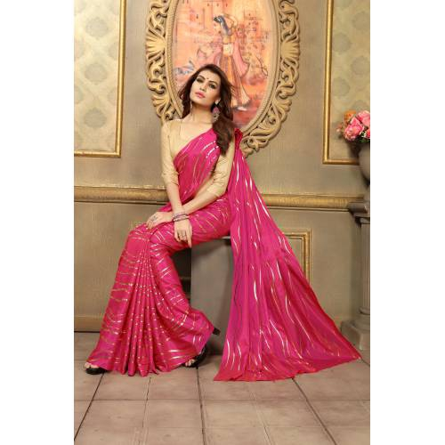 Craftsvilla Pink Art Silk Designer Solid Saree With Unstitched Blouse Piece