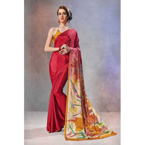 Craftsvilla Red Crepe Printed Designer Saree With Unstitched Blouse Material