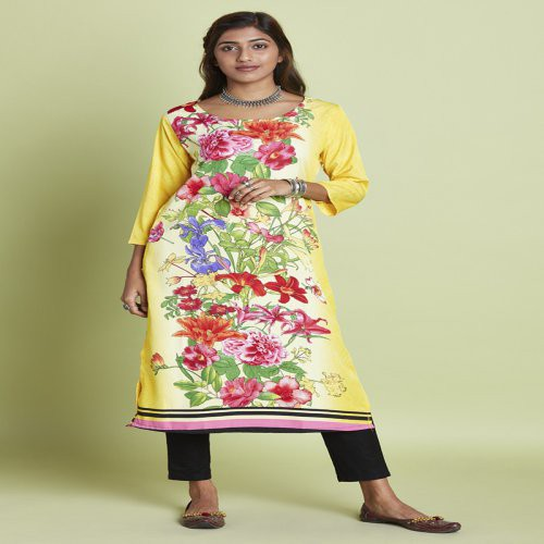 Yellow Crepe Printed Knee Length Straight Kurti