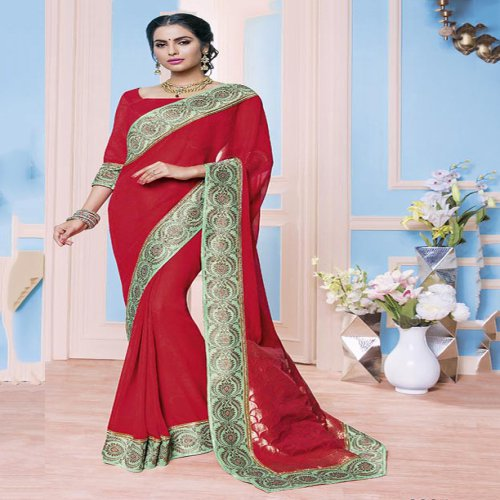 9e1db9aa847be Craftsvilla Red Color Raw Silk Resham Embroidery Designer Saree With  Unstitched Blouse Material