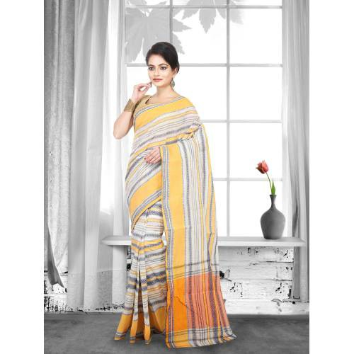 Craftsvilla Off White Color Cotton Handwoven Traditional Saree
