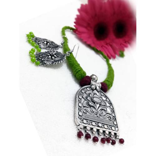 Craftsvilla Silver Plated Brass Antique Hand Crafted Necklace