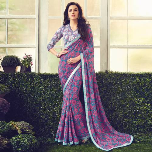 Craftsvilla Purple Color Viscose Crepe Embroidered Partywear Saree