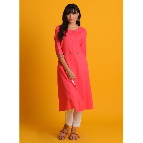 Craftsvilla Pink Cotton Tagai Printed A Line Style Kurta With Pant Set