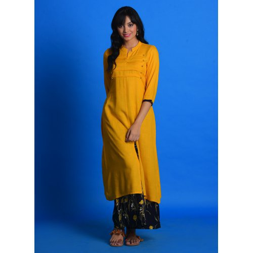 Craftsvilla Mustard Cotton Blend Plain A Line Style Kurta With Palazzo Set