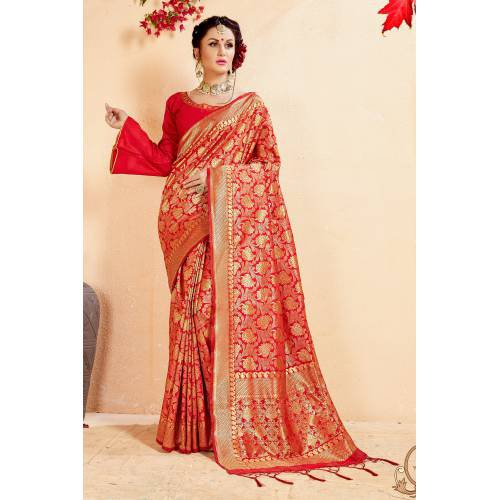 e5c890a444ca03 Buy Craftsvilla Red Banarasi Silk Woven Partywear Saree With Unstitched  Blouse Material Online