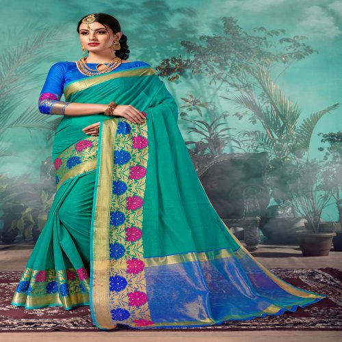 Craftsvilla Teal Green Chanderi Woven Partywear Saree With Unstitched Blouse Material