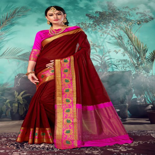 Craftsvilla Maroon Chanderi Woven Partywear Saree With Unstitched Blouse Material