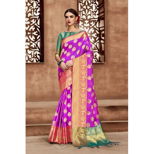 Craftsvilla Pink Kanjivaram Silk Embellished Designer Saree With Unstitched Blouse Material
