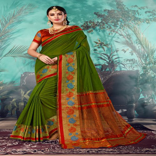 Craftsvilla Green Chanderi Woven Partywear Saree With Unstitched Blouse Material