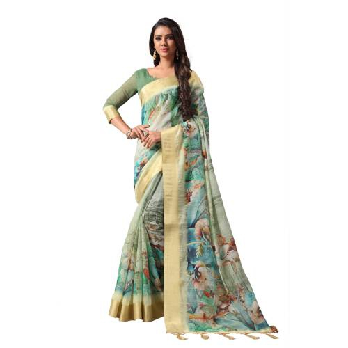 Craftsvilla Off White Silk Blend Printed Designer Saree With Unstitched Blouse Material