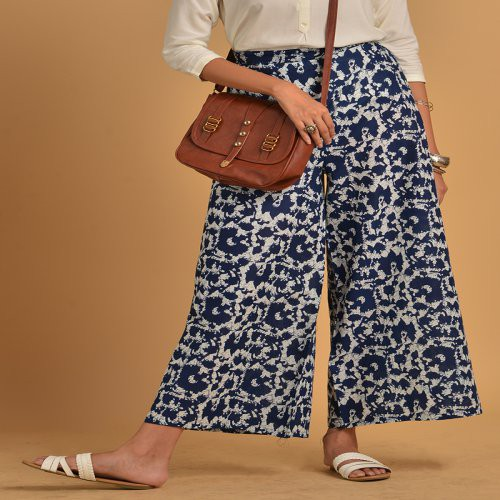 Blue Cotton Printed Flared Palazzo