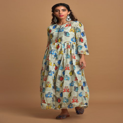 White Cotton Blend Printed Ankle Length A Line Style Kurti