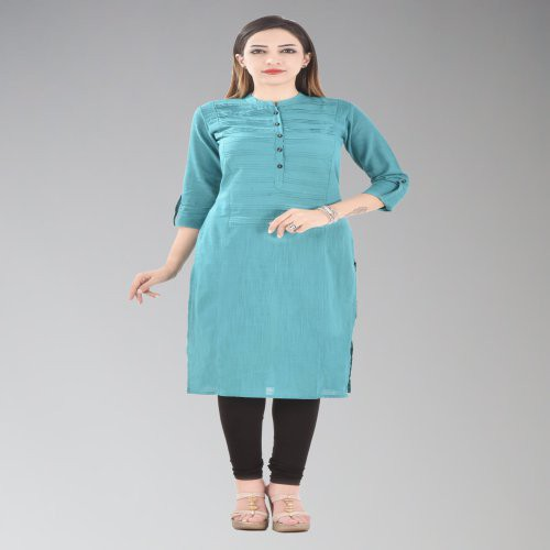 Turquoise Cotton Pintuck Calf Length Straight Kurti