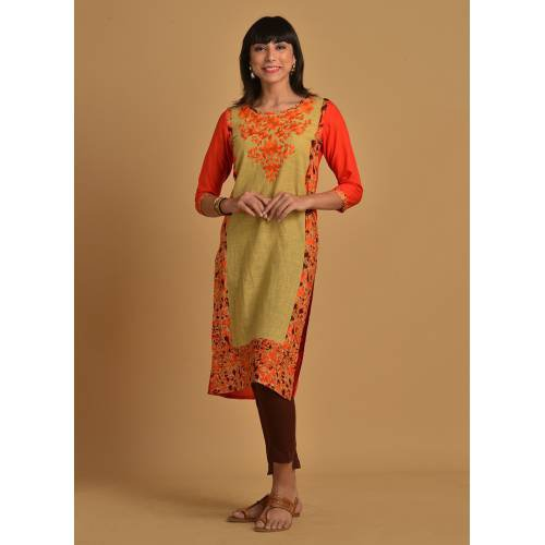 Orange Rayon Embroidered Calf Length Straight Kurti