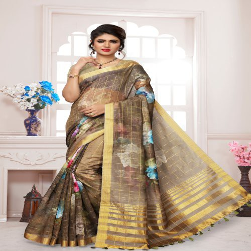 Craftsvilla Brown Silk Floral Printed Saree With Unstitched Blouse Piece