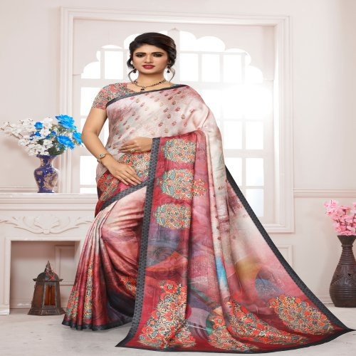 Craftsvilla Multicolor Pashmina Solid Saree With Unstitched Blouse Piece