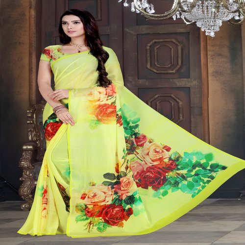 Craftsvilla Yellow Chiffon Floral Printed Saree With Unstitched Bloue Piece