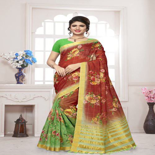 Craftsvilla Red Silk Floral Printed Saree With Unstitched Blouse Piece