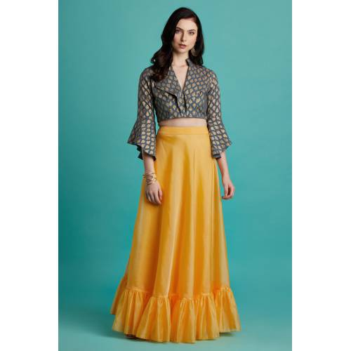 Kesariya- Grey Khadi Printed Shawl Collar Blouse With Tiered Skirt