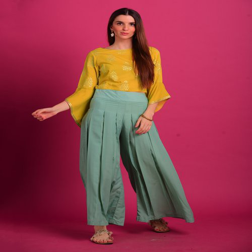 Buttercup Yellow Rubber Foil Print Croptop With Aqua Boxpleate Palazzo. Note : Do Not Iron On Print