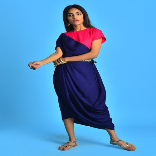 Indigo Cowl Drape Kurti Dress With Embroidered Belt & Extended Sleeve