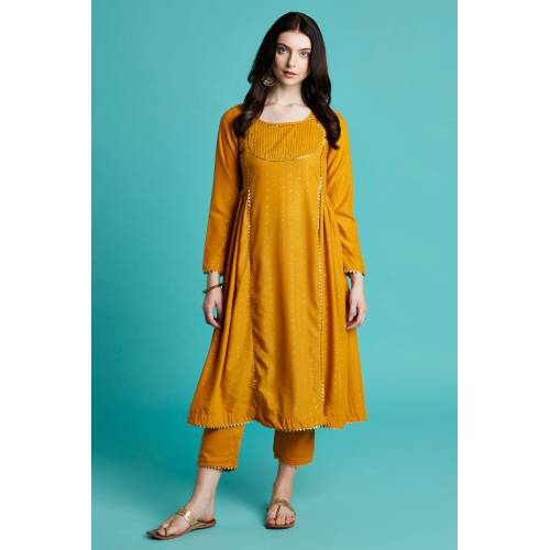 Zuhi- Mustard Yellow Foil Printed Gathered At The Side Kurti With Straight Paint
