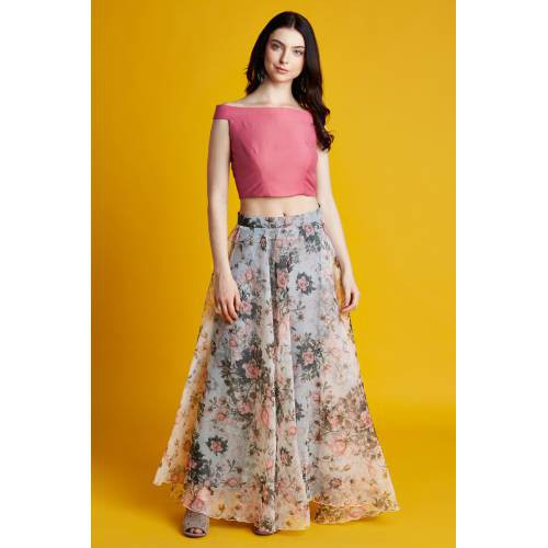 Florence- Pink Off Shoulder Crop Top With Floral Printed Organza Skirt